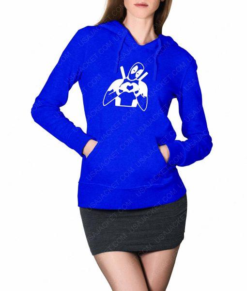 Womens Deadpool Heart Love Blue Hoodie