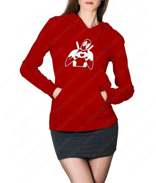 Womens Deadpool Heart Love Red Hoodie