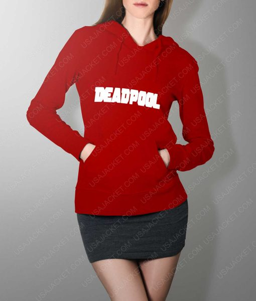Womens Deadpool Title Logo Red Hoodie
