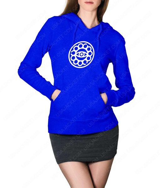 Womens Doctor Strange Eye Of Agamotto Logo Blue Hoodie