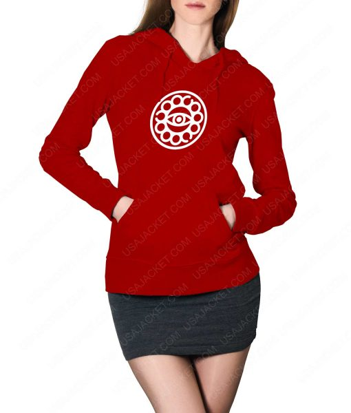 Womens Doctor Strange Eye Of Agamotto Logo Red Hoodie