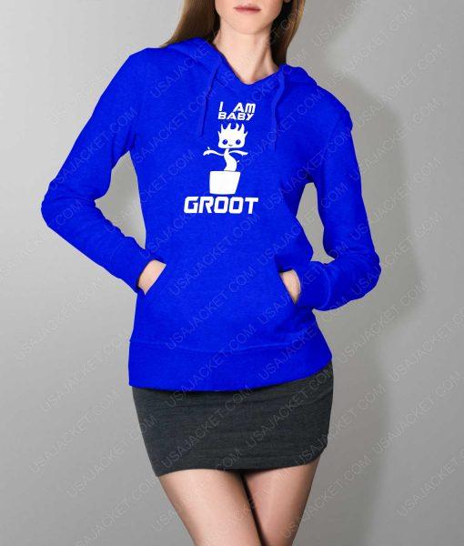 Womens Im Groot Logo Blue Hoodie