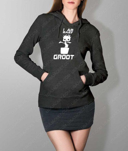 Womens Im Groot Logo Grey Hoodie
