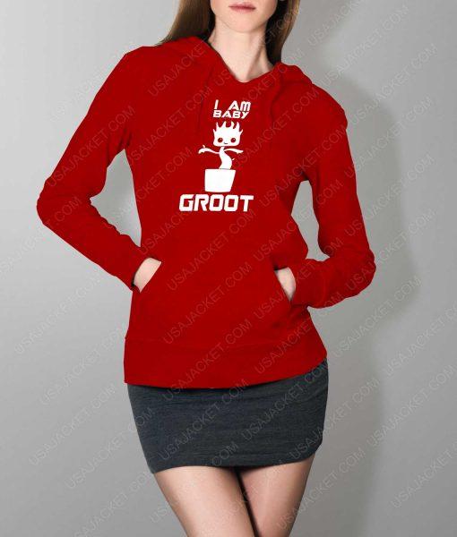 Womens Im Groot Logo Red Hoodie