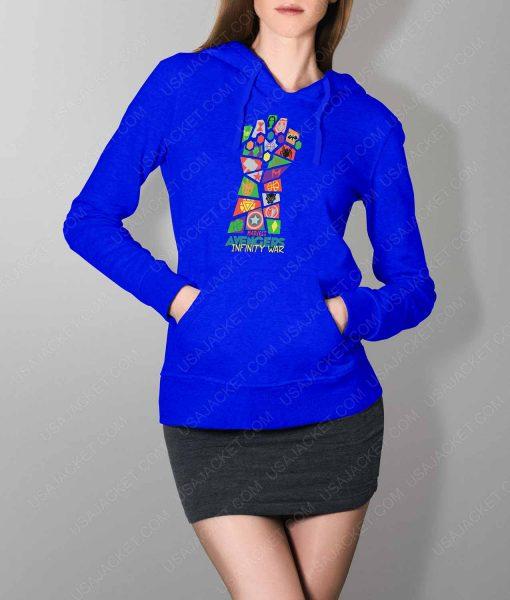 Womens Infinity War Pop Art Blue Hoodie