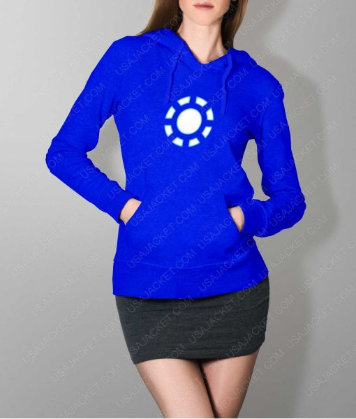 Womens Iron Man 1 ARC Reactor Blue Hoodie