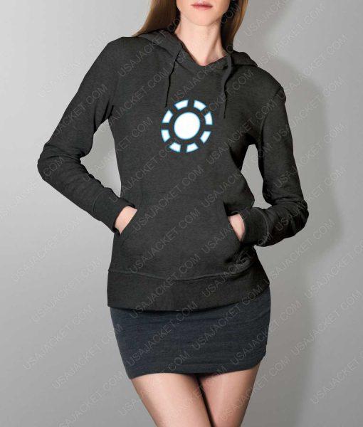 Womens Iron Man 1 ARC Reactor Grey Hoodie