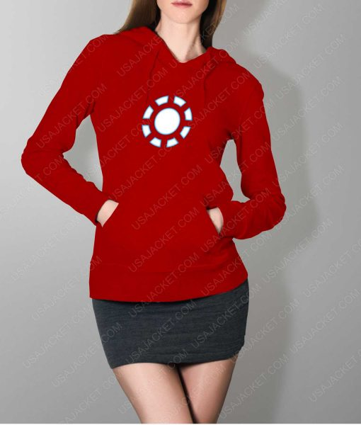 Womens Iron Man 1 ARC Reactor Red Hoodie