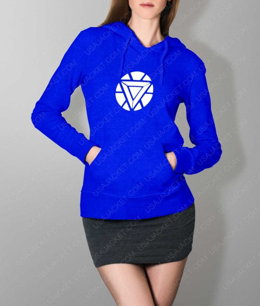 Womens Iron Man ARC Reactor Logo Blue Hoodie