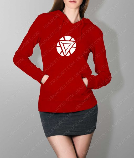 Womens Iron Man ARC Reactor Logo Red Hoodie