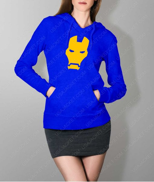 Womens Iron man Face Logo Blue Hoodie