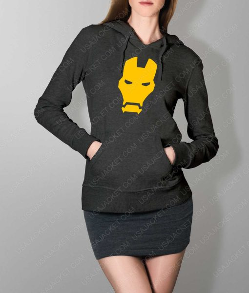 Womens Iron man Face Logo Grey Hoodie