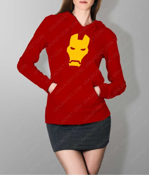 Womens Iron man Face Logo Red Hoodie