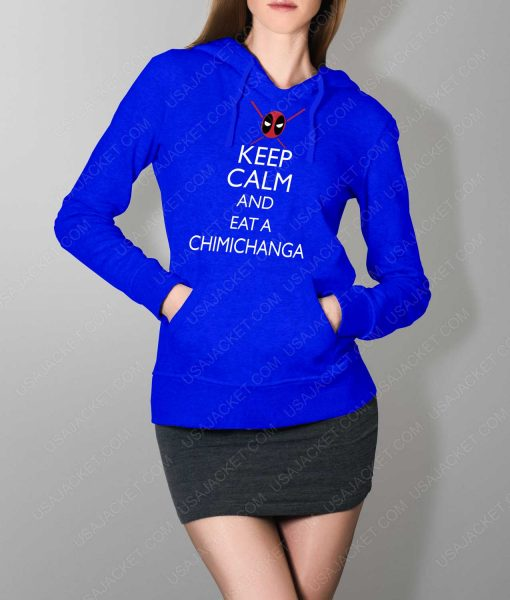 Womens Keep Calm And Eat Chimichanga Blue Hoodie