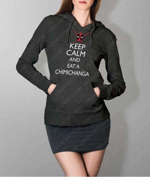 Womens Keep Calm And Eat Chimichanga Grey Hoodie