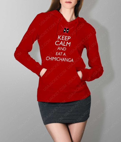 Womens Keep Calm And Eat Chimichanga Red Hoodie