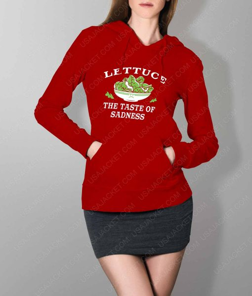 Womens Lettuce The Taste Of Sadness Red Hoodie