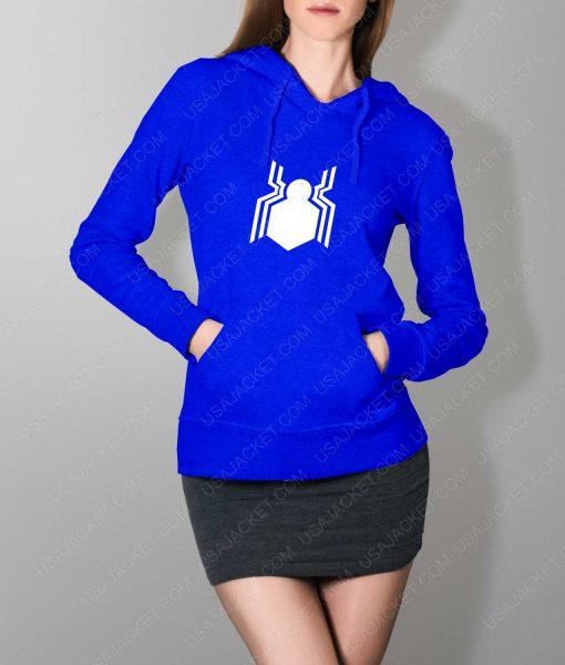 Womens Spiderman Homecoming Suit Logo Blue Hoodie