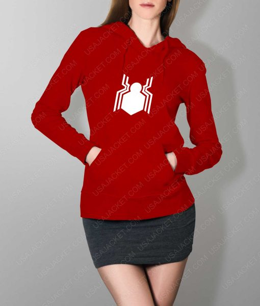 Womens Spiderman Homecoming Suit Logo Red Hoodie