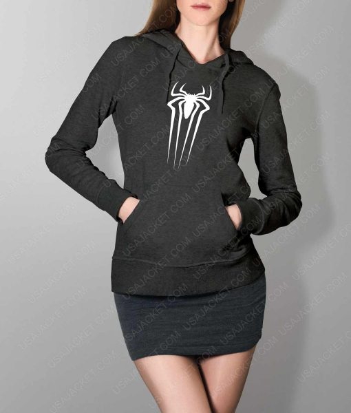 Womens The Amazing Spiderman Suit Logo Grey Hoodie
