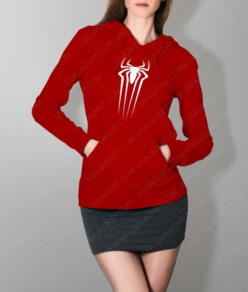 Womens The Amazing Spiderman Suit Logo Red Hoodie