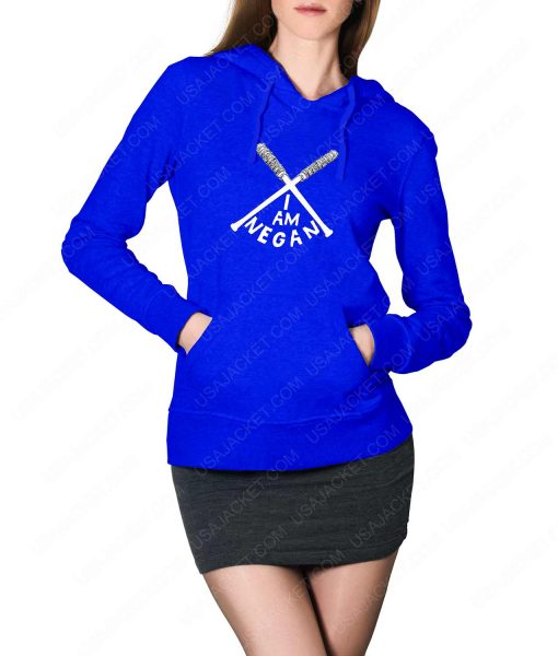 Womens The Walking Dead I Am Negan Logo Blue Hoodie