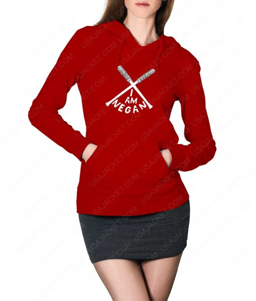 Womens The Walking Dead I Am Negan Logo Red Hoodie