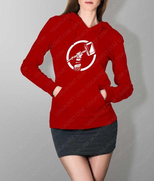 Womens Thor Hammer Red Hoodie