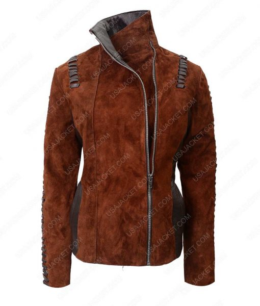 Western Brown Suede Biker Leather Jacket For Womens