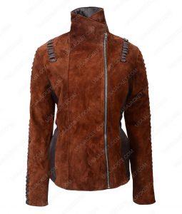 Womens Western Brown Suede Biker Jacket