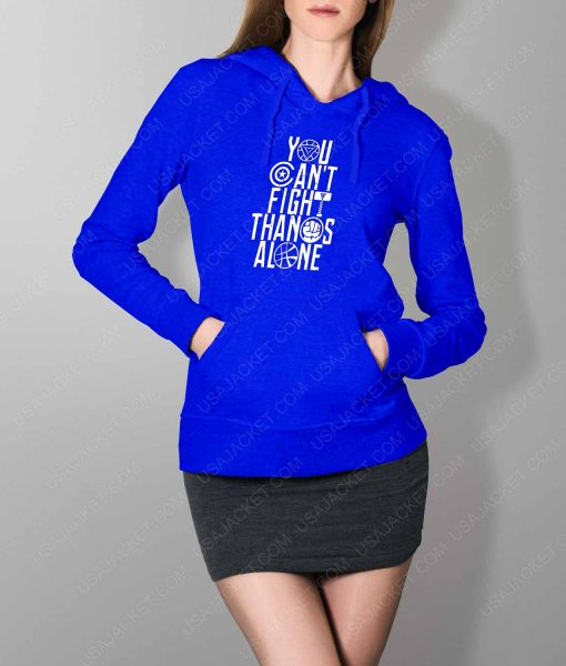 Womens You Can't Fight Thanos Alone Blue Hoodie
