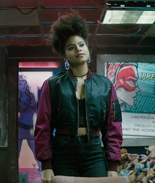 Zazie Beetz Deadpool 2 Domino Satin Bomber Jacket