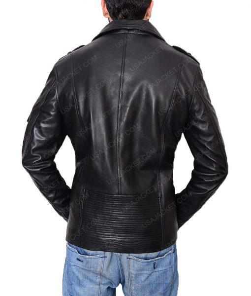 Asymmetric Style Leather Jacket