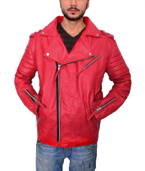 Asymmetrical Style Padded Red Biker Jacket