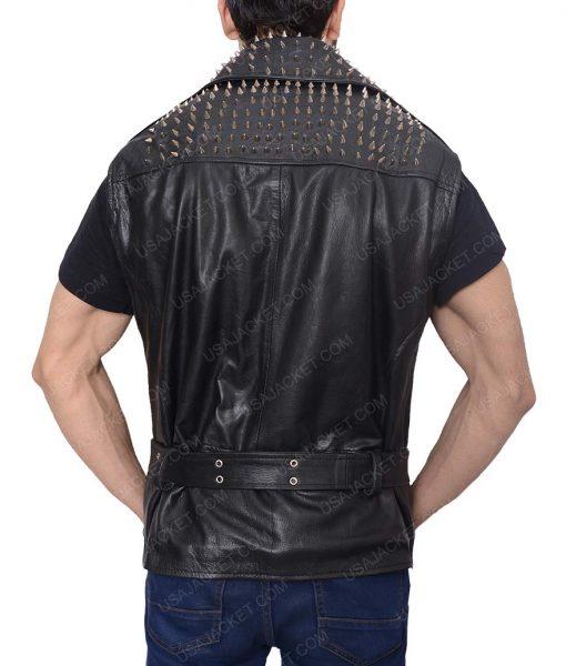 Studded Leather Black Belted Vest