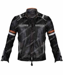 Mayhem Retro Cafe Racer Black Leather Jakcet