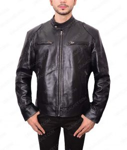 Black Slimfit Café Racer Leather Jacket For Men