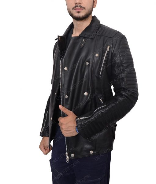 Quilted Black Leather Biker Jacket