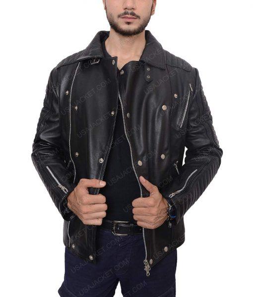 Quilted Biker Black Jacket