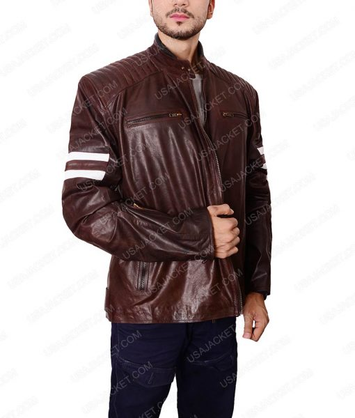 92 Classic Cafe Racer Vintage Brown Leather Jacket