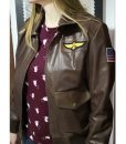 Captain Marvel Brown Leather Bomber Jacket