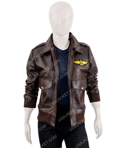 Captain Marvel Leather Bomber Jacket