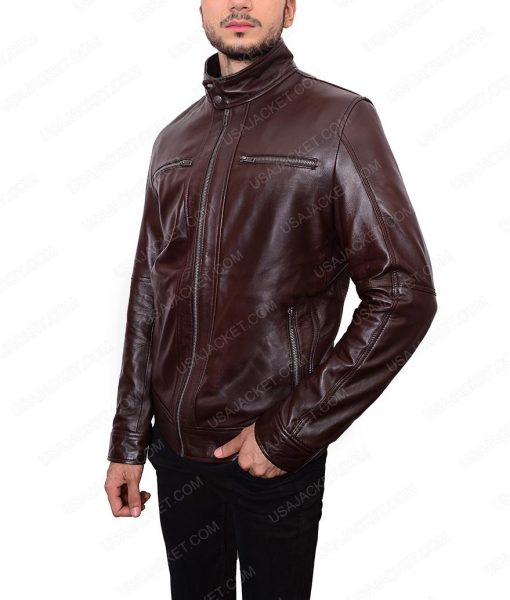 Mens Casual Dark Brown Leather Jacket