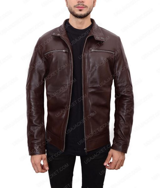 Casual Dark Brown Leather Jacket For Men