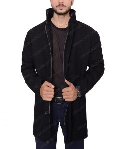 Counterpart Howard Silk Black Wool Coat