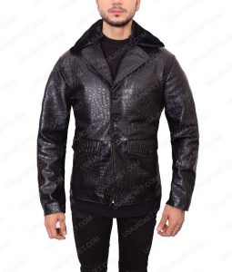 Mens Embossed Crocodile Black Leather Jacket