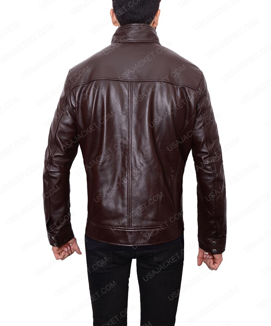 Dark brown leather jacket for men