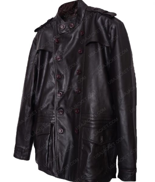 Double Breasted Dark Brown Leather Jacket For Men