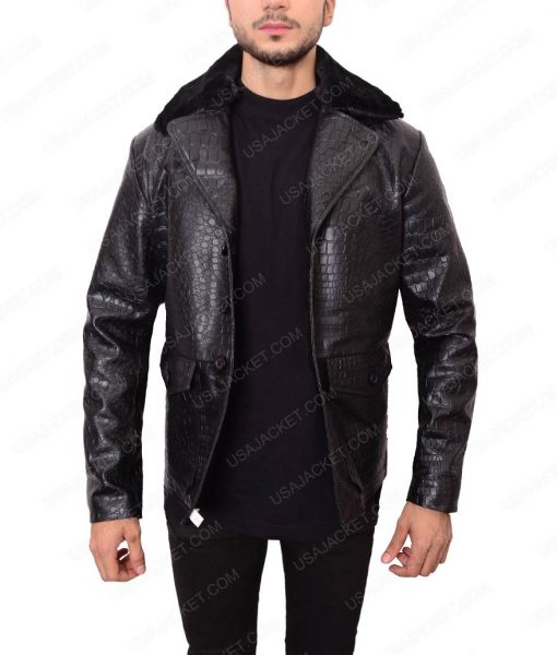 Embossed Crocodile Black Leather Jacket For Men