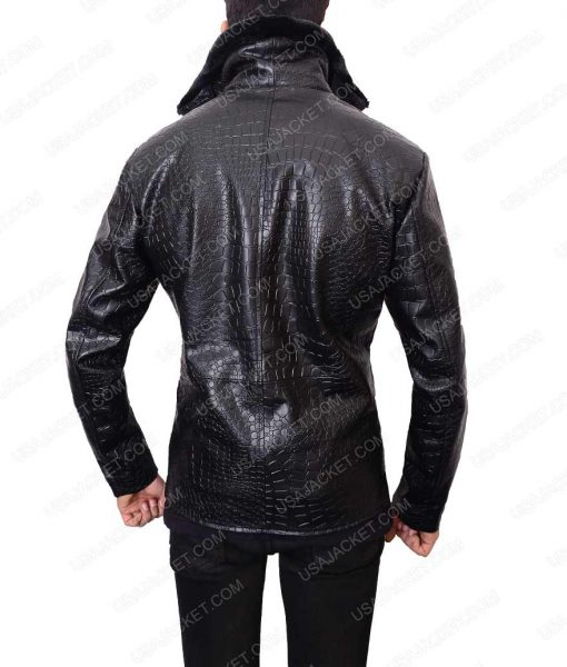 Crocodile Black Leather Jacket